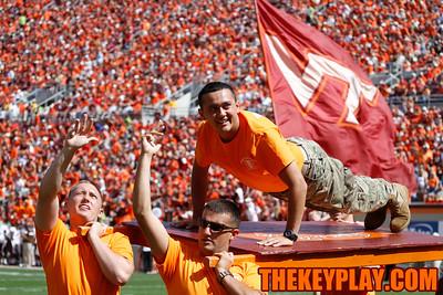 The Espirit de Corps does pushups after a Virginia Tech touchdown in the first half. (Mark Umansky/Thekeyplay.com)