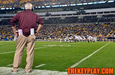 Virginia Tech Hokies head coach Frank Beamer looks on during the second quarter. (Michael Shroyer/ Thekeyplay.com)