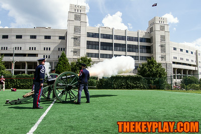 """The Virginia Tech Corps of Cadets fires """"Skipper"""" at the first Hokie VIllage two hours before kickoff."""