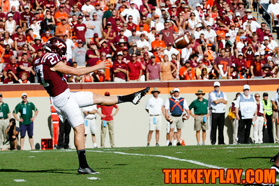 A.J. Hughes unleashes a punt in the first half.