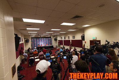 The press conference room in the South stands during Virginia Tech's media day.