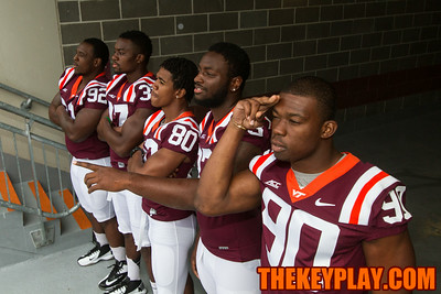 (left to right) Luther Maddy, Ronny Vandyke, Demitri Knowles, Darius Redman, and Dadi Nicholas look out over the field.