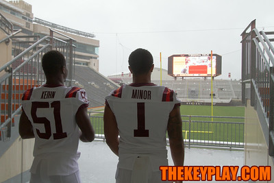 Raymon Minor and Melvin Keihn look into Lane Stadium