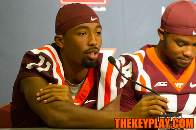 Kendall Fuller talks with the media.