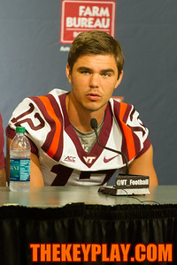 QB Michael Brewer answers a question during media day.