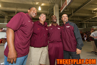 (left to right) Assistant coaches Cornell Brown, Charley Wiles, Torrian Gray and Bud Foster