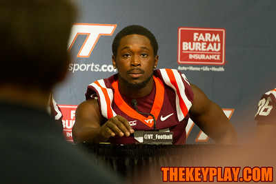 Detrick Bonner listens to a question from the media.