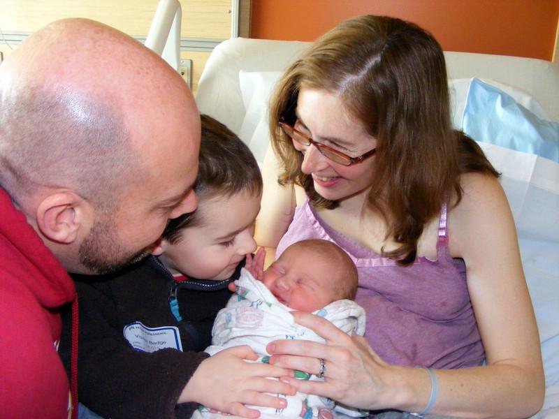 Nate at long last meets his baby sister!