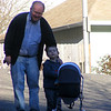 With Papa, pushing baby doll Isabel in new stroller