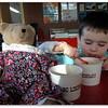 Barney Bear is treated to frozen yogurt