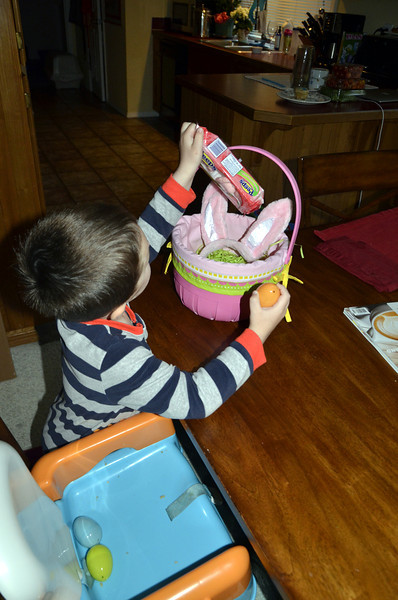 Easter basket at his place with bunny ears and Peeps