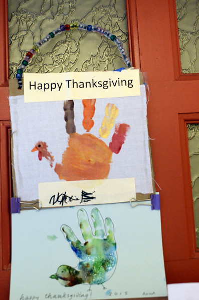 Thanksgiving 2016 - with a six- and and almost three year old handprints on the door