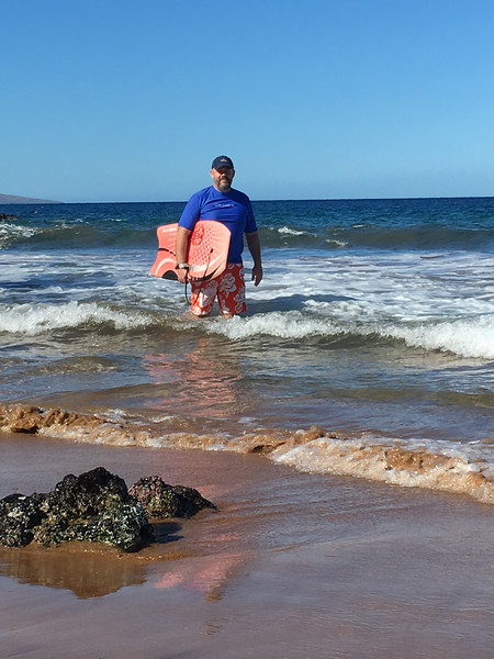 Boogie boarding at Makena Surf/Po'olenalena Beach on our second morning - it was so awesome, we went back two more times