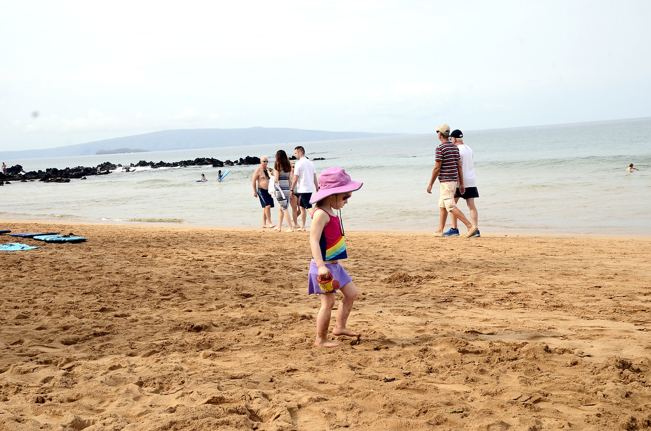 getting our toes in the sand for the first time after breakfast - at Keawakapu Beach