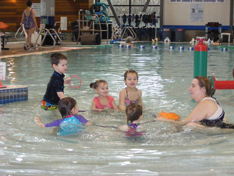 "Nate started swim lessons in January as a ""goldfish"""