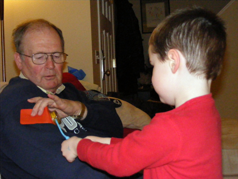 Nate & Papa play doctor.