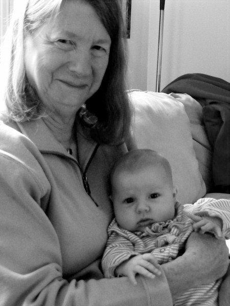 Nonni holding Anna at 6 weeks.