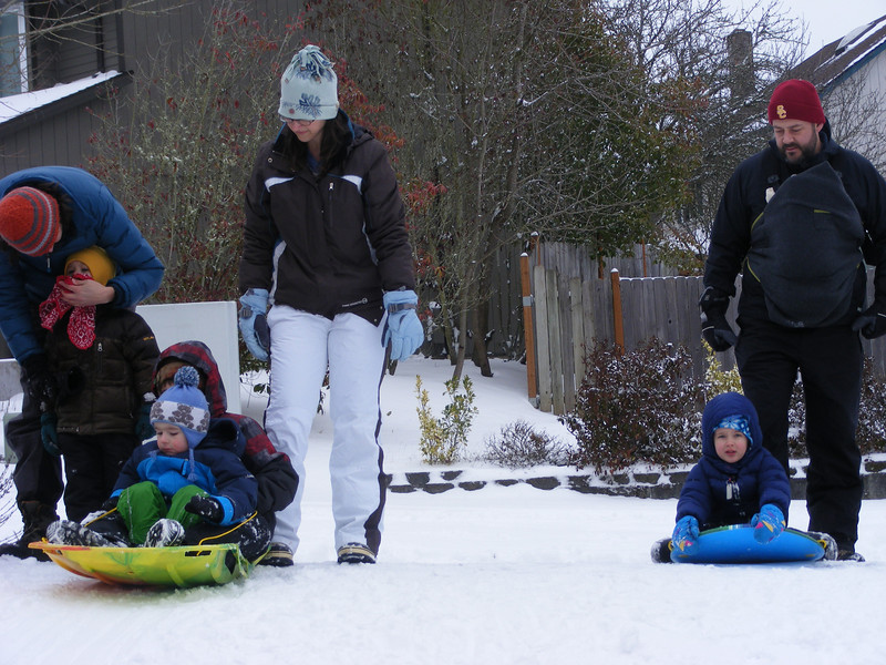 Getting ready to sled with neighbor Josiah