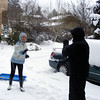 Brotherly-sisterly love in the form of a snowball fight