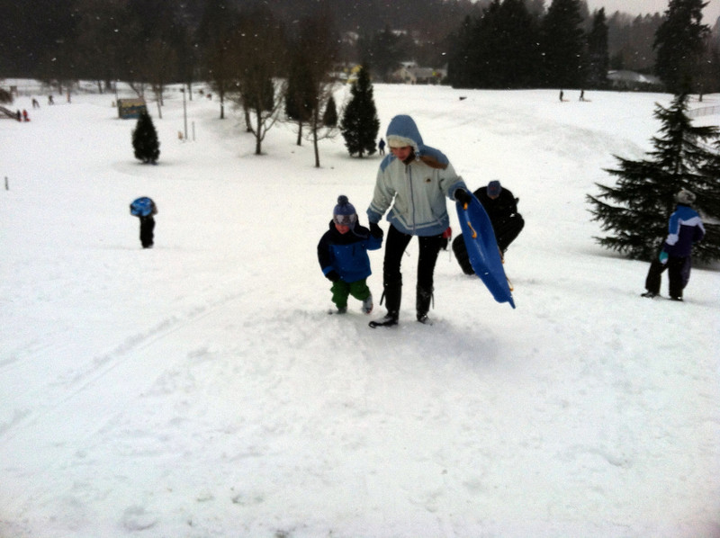 Sledding with Auntie T at Gabriel Park