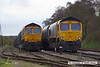 140407-029     GBRf class 66/7's no's 66741 & 66729 Derby County are seen side by side in Thoresby sidings.