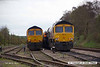 140407-027     GBRf class 66/7's no's 66741 & 66729 Derby County are seen side by side in Thoresby sidings.