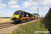 140809-009     A Grand Central HST led by power car, class 43 no 43467 speeds over Cromwell Lane level crossing, at the helm of 1A61, the 08.30 Sunderland to London King's Cross.