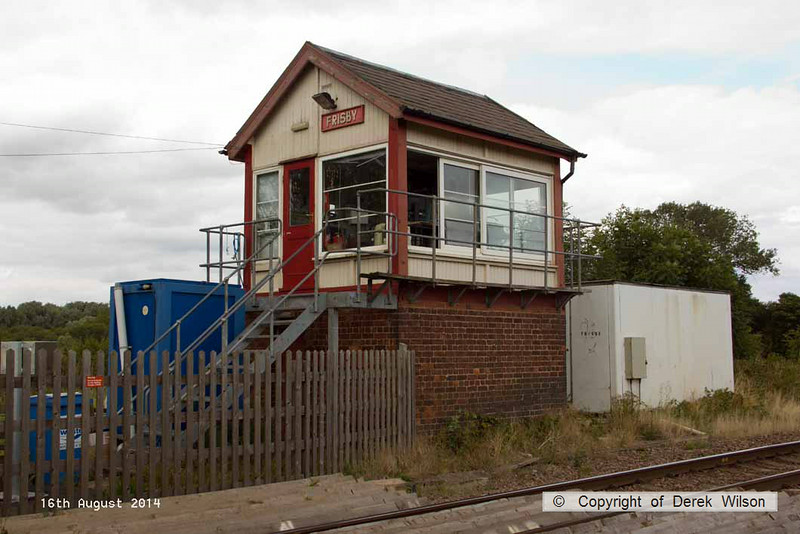 140816-051     Frisby signal box, at the site of the former Midland Railway station on the Leicester to Peterborough line. The station was opened on Ist January 1847 and closed by BR on 3rd July 1961.