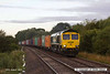 140816-005     Freightliner class 66/5 no 66596 passes Frisby with diverted Intermodal 4L89, 03.37 Crewe, Basford Hall to Felixtowe North F.L.T.. Due to engineering work at Ipswich, Intermodal services were being diverted via Peterborough, Melton Mobray and Leicester.