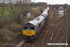 140203-015 66747     On Monday 3rd February 2014, GB Railfreight class 66/7 no 66747 powered train 4D90, the 11.35 Doncaster down decoy to Shirebrook, W.H. Davis, with a rake of Drax Power biomass hoppers in tow. The ensemble is seen at Shirebrook, reversing onto Davis's branch line. This was the first rake of these hoppers to enter service & are also the only ones not sporting the Drax vinyl's.
