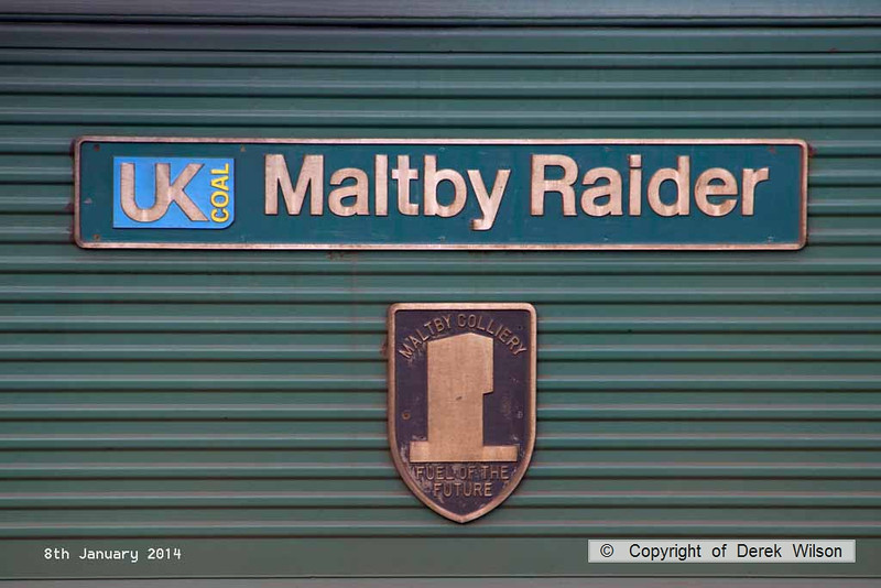 140108-006     Nameplate of Freightliner class 66/5 no 66552 Maltby Raider. Unfortunately the colliery is now closed. Image taken at Thoresby colliery sidings.