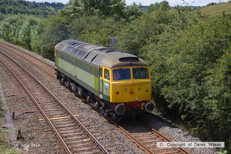 140707-005     Two-tone green liveried class 47/8 no 47812 is seen approaching Kirkby Lane End Junction, where it joined the Robin Hood Line, with GB Railfreight route learner 0Z59, the 12.04 Toton North Yard to Ironville Junction.