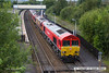 140712-003     Loco convoy 0M67, 15.31 Belmont down yard to Toton T.M.D. consisting of 66001, providing the power, then (in order) 66043, 60001, 66144 and finally 66138. Captured from the road bridge as it passéd through Alfreton station.