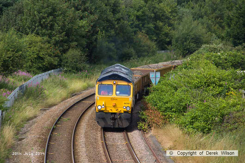 140720-011     GB Railfreight class 66/7 no 66745 Modern Railways The First 50 Years is seen tackling Kirkby Summit on the Robin Hood Line, powering engineers train 6G41, 15.15 Kiverton Park to Toton North Yard.