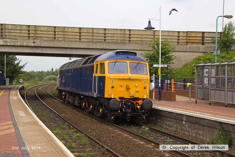 140702-008     GB Railfreight's hired-in class 47/8 n0 47815 Great Western speeds through Sutton Parkway with route learner 0Z60, the 13.45 Ironville Junction to Toton Centre.