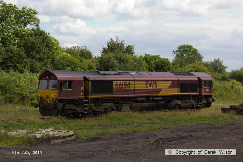 140704-003      DB Schenker class 66/0 no 66194 is seen in WH Davis' headshunt at Shirebrook.