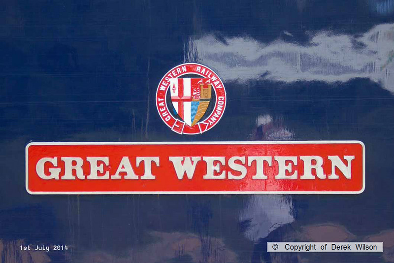 140701-005     Nameplate of class 47 no 47815 Great Western, seen in platform three at Mansfield Woodhouse with route learner 0Z58, the 06.32 Doncaster Down Decoy to Toton North Yard.