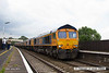 140712-004     GB Railfreight class 66/7 no 66737 Lesia is captured passing through Alfreton with 0X66, 12.00 Newport docks to Doncaster Roberts Road shed, with five new class members in-tow, which are, in order, 66752, 66753, 66754, 66756, and 66755. These are the first of a order for twenty one new loco's to be delivered by the end of the year, and due to new immissions regulations, will be the last of the class to be built. The leading loco, 66737 was built for DRS as 66405 in 2003, so is 11 years older than the new ones.