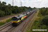 140709-011     Colas Rail class 66/8 no 66849 Wylam Dilly is captured passing North Stafford Junction, powering 4V30, 08.20 Ratcliffe power station to Portbury coal terminal, empty coal hoppers.