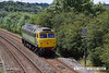 140707-002     Two-tone green liveried class 47/8 no 47812 is seen approaching Kirkby Lane End Junction, where it joined the Robin Hood Line, with GB Railfreight route learner 0Z59, the 12.04 Toton North Yard to Ironville Junction.