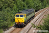 140707-007     Two-tone green liveried class 47/8 no 47812 is seen approaching Kirkby Lane End Junction, where it joined the Robin Hood Line, with GB Railfreight route learner 0Z59, the 12.04 Toton North Yard to Ironville Junction.