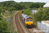 140720-005     GB Railfreight class 66/7 no 66704 Colchester Power Signalbox opens up as it climbs Kirkby Summit on the Robin Hood Line, powering engineers train  6G40, 12.45 Kiverton Park to Toton North Yard.