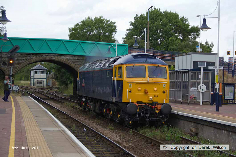 140704-018     Class 47 no 47815 Great Western is rejoins the Robin Hood Line at Shirebrook Junction, with GBRf route learner 0Z59, the 12.04 Toton North yard to Ironville junction.