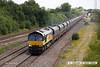140709-009     Colas Rail class 66/8 no 66849 Wylam Dilly is captured passing North Stafford Junction, powering 4V30, 08.20 Ratcliffe power station to Portbury coal terminal, empty coal hoppers.