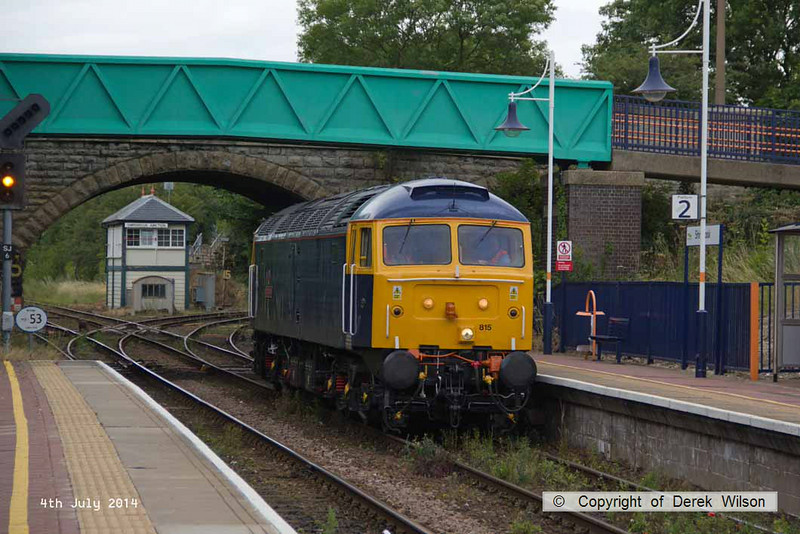 140704-014     Class 47 no 47815 Great Western rejoins the Robin Hood Line at Shirebrook Junction, with GBRf route learner 0Z59, the 12.04 Toton North yard to Ironville junction.
