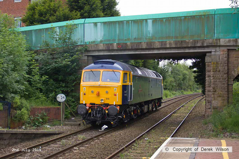 140702-010     GB Railfreight's hired-in class 47/8 n0 47815 Great Western speeds through Sutton Parkway with route learner 0Z60, the 13.45 Ironville Junction to Toton Centre.