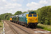 140612-012     Class 50 no 50007 Hercules leads loco convoy 0Z50, the 10.38 Washwood Heath to Sheringham. Captured passing Frisby with D8059, D306 & Colas class 37 no 37219 all in-tow