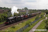 140602-011     A stunning sight!! former LMS steam loco's, 8F 2-8-0 no 48151, Jubilee 4-6-0 no 45699 Galatea, and Royal Scot 4-6-0 no 46115 Scots Guardsman are seen approaching Newark North Gate, with train 5Z70, the 07.59 Dereham to Carnforth (Steamtown). They were returning to base at Carnforth after attending a gala weekend at the Mid Norfolk Railway.