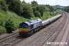 140606-018     Direct Rail Services class 66/4 no 66427 passes Hasland, Chesterfield, powering engineers train 6E20, the 12.27 Toton north yard to Doncaster up decoy, with a load of new concrete sleepers.