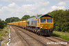 140612-007     GBRailfreight class 66/7 no 66748 Modern Railways The First 50 Years, captured passing Frisby , powering 6L24, the 10.38 Mountsorrel to Whitemoor yard, loaded ballast boxes